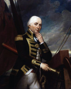 Vice Admiral Cuthbert Collingwood commander of the British Leeward Squadron at the Battle of Trafalgar on 21st October 1805 during the Napoleonic Wars: picture by Henry Howard