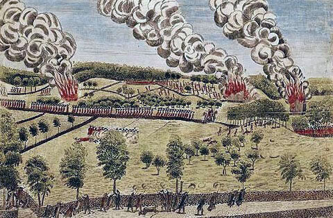 British retreat: Battle of Lexington and Concord 19th April 1775 American Revolutionary War: picture by Amos Doolittle from eyewitness accounts