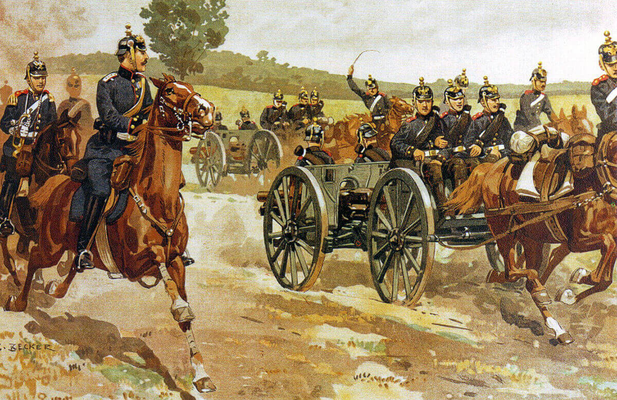 German artillery on manoeuvres in 1905 by Becker: Battle of the Aisne, 10th to 13th September 1914 in the First World War