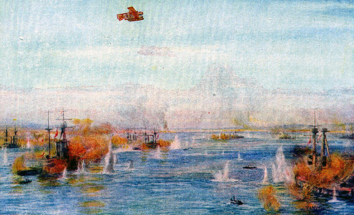 British battleships and battlecruisers bombarding the Dardanelles Narrows: Gallipoli campaign Part I: the Naval Bombardment, March 1915 in the First World War: picture by Lionel Wyllie