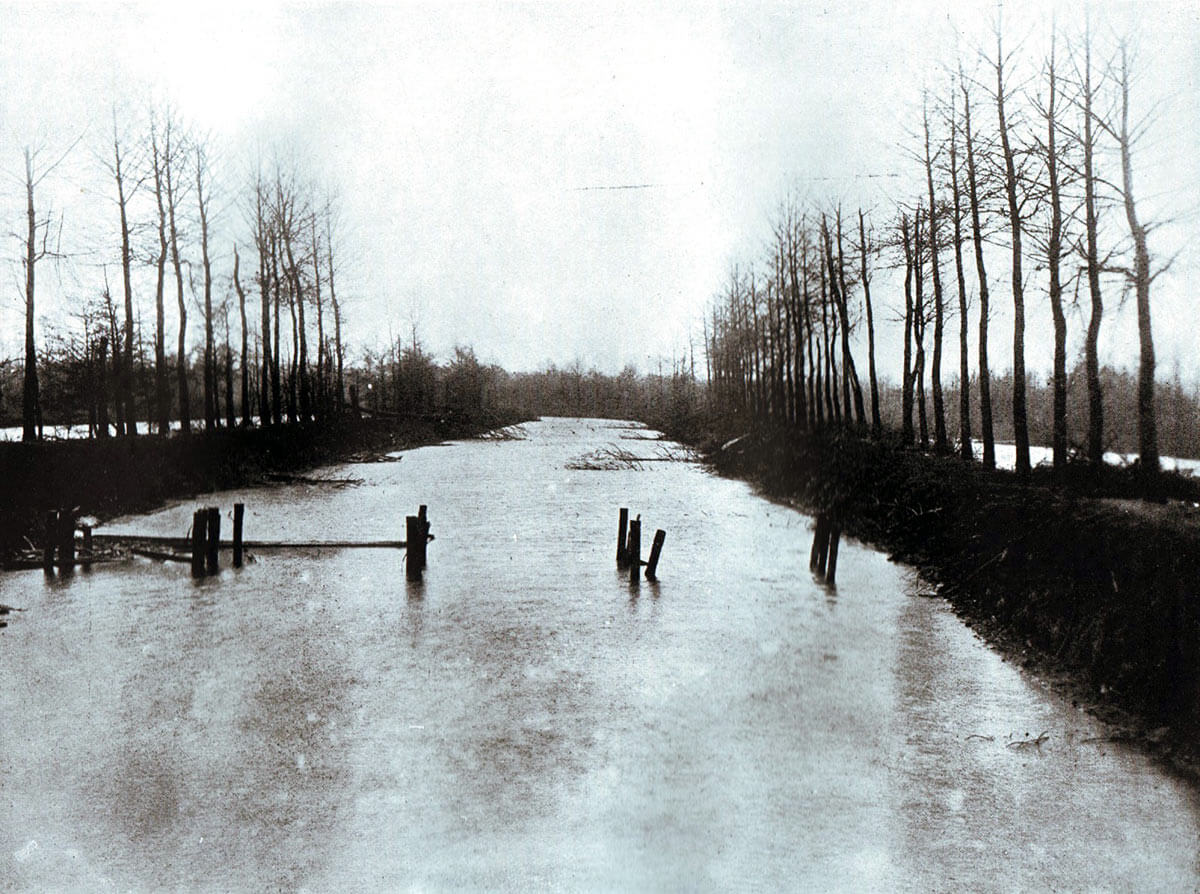 The Sambre and Oise Canal north of Oisy: Battle of Étreux on 27th August 1914 in the First World War