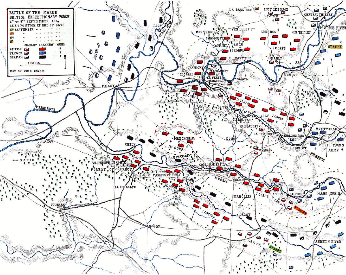 Map of the Battle of the Marne, fought from 6th to 9th September 1914, during the First World War: map by John Fawkes