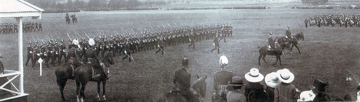 1st Northamptionshire Regiment passing in review before King George V in June 1914: British Expeditionary Force (BEF) 1914 Order of Battle