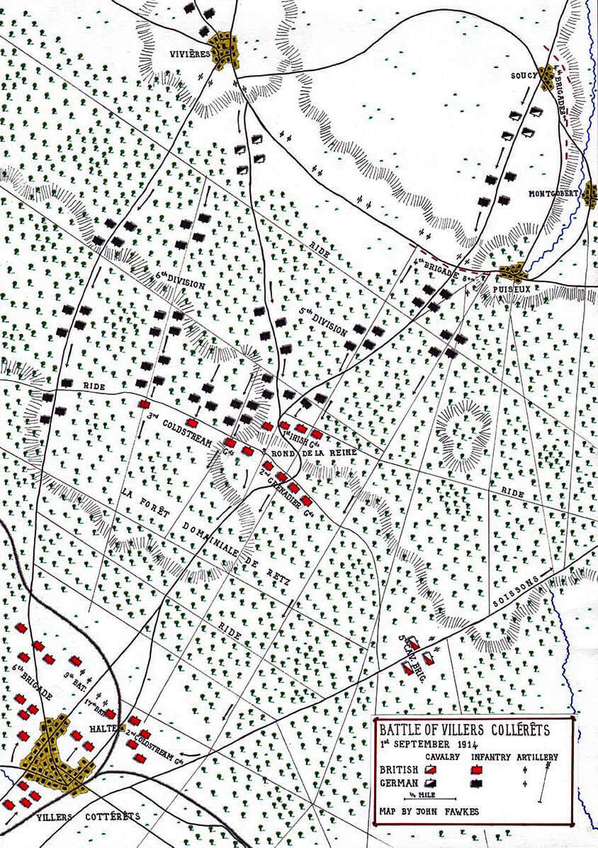 Map of the Battle of Villers Cottérêts on 1st September 1914 in the First World War: map by John Fawkes