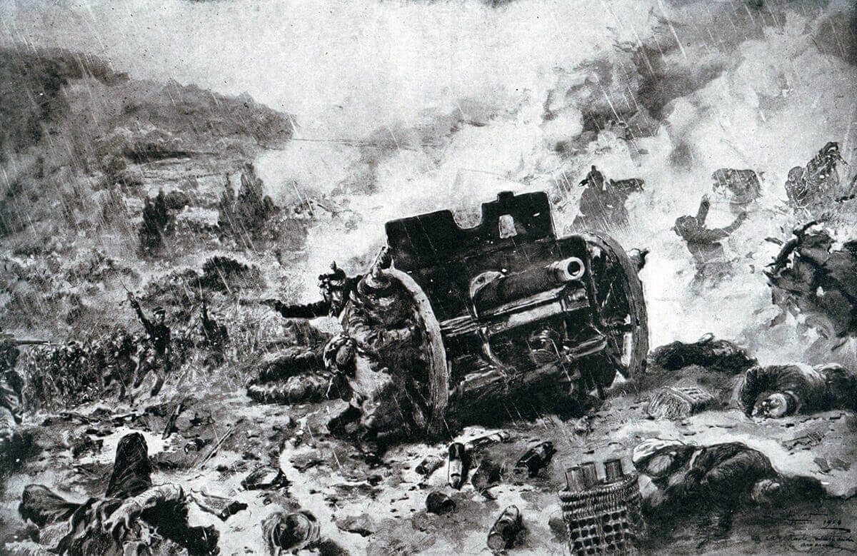 French infantry attacking a retreating German gun battery:Battle of the Aisne, 10th to 13th September 1914 in the First World War