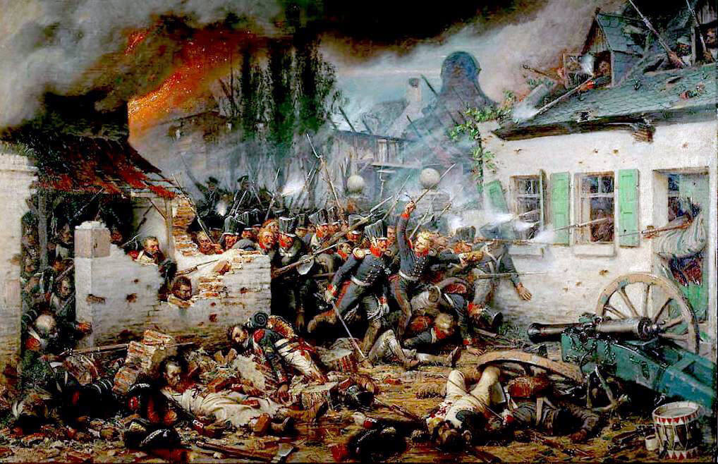 Prussian attack on Plancenoit at the Battle of Waterloo at around 7pm on 18th June 1815: picture by Adolf Northern