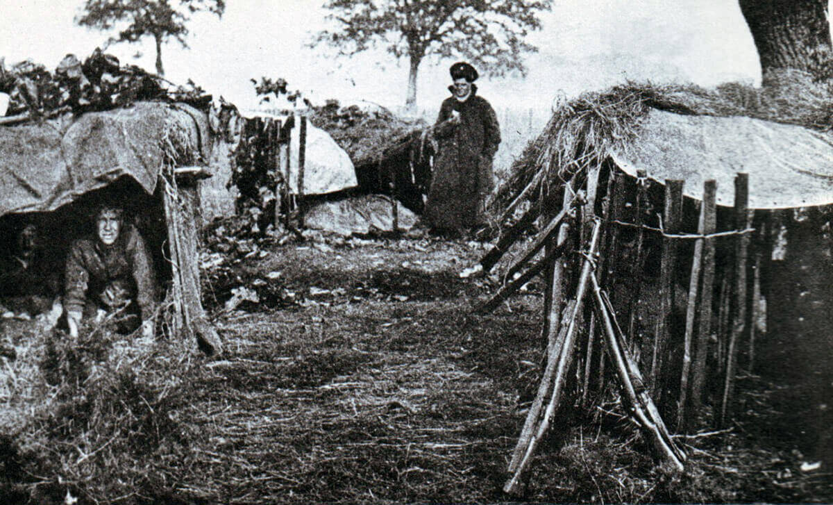 British troops in bivouacs on the battlefield: Battle of the Aisne, 10th to 13th September 1914 in the First World War