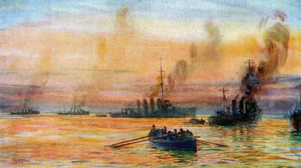 British ships moving casualties and prisoners by boat after the Battle of Heligoland Bight on 28th August 1914 in the First World War: picture by Lionel Wyllie
