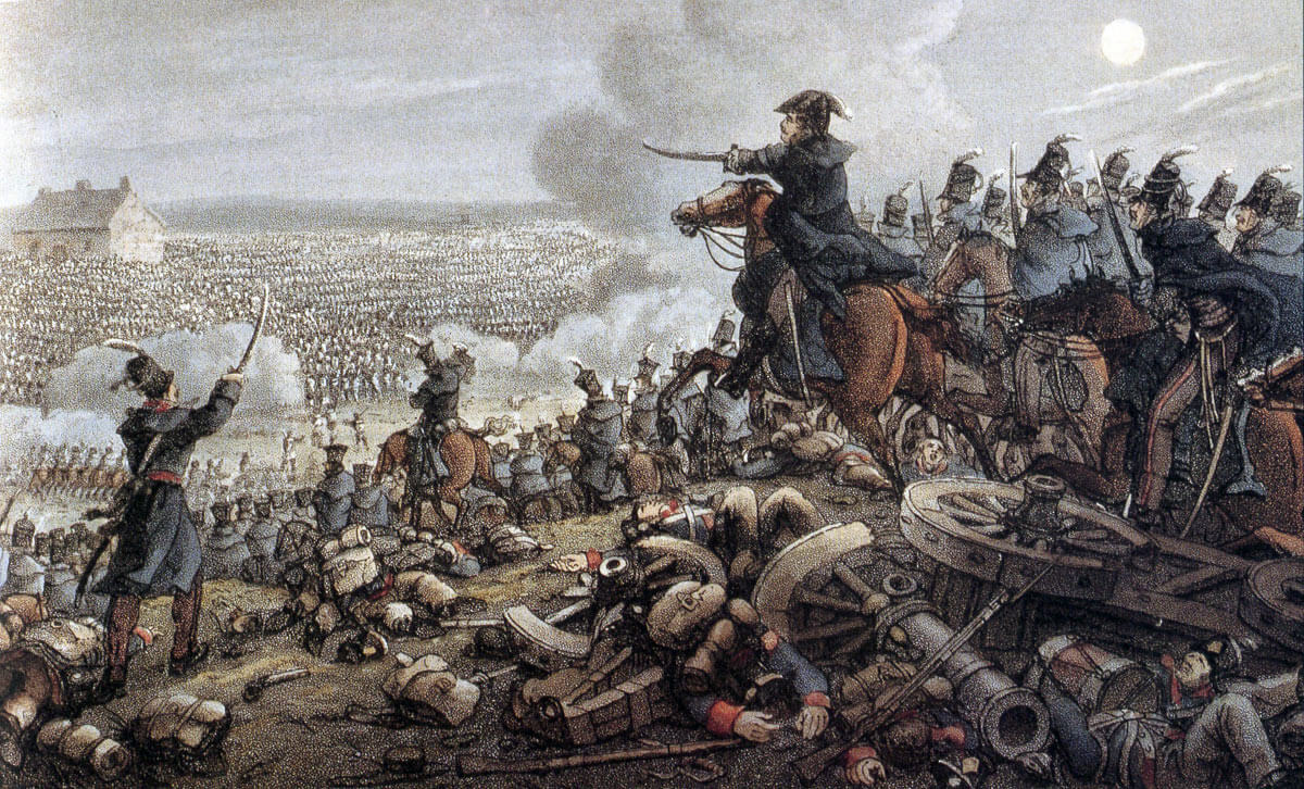 General von Ziethen's Prussian cavalry attacking the French right wing at the climax of the Battle of Waterloo on 18th June 1815