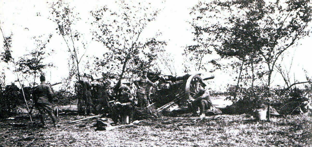 British 60 pounder guns on the battlefield:Battle of the Aisne, 10th to 13th September 1914 in the First World War