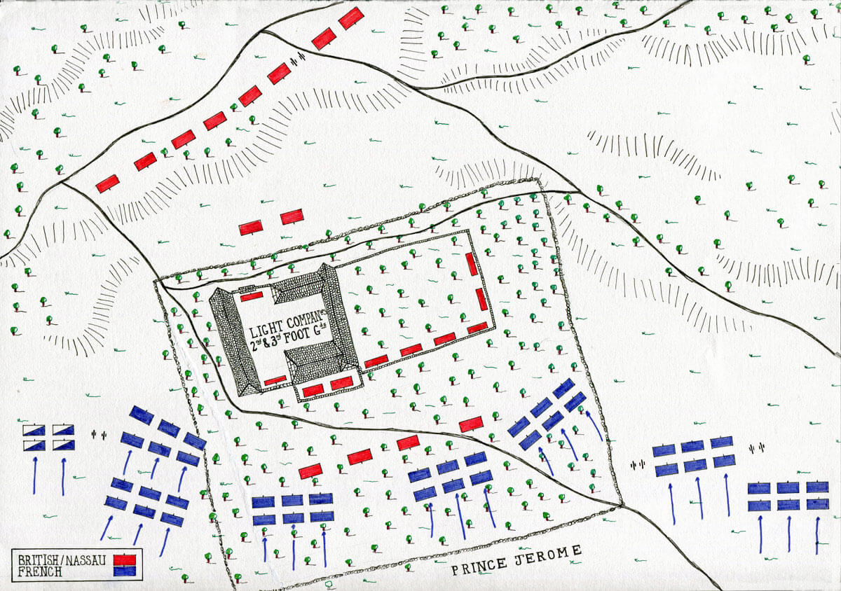 Map of the Hougoumont Château at the Battle of Waterloo on 18th June 1815: map by John Fawkes
