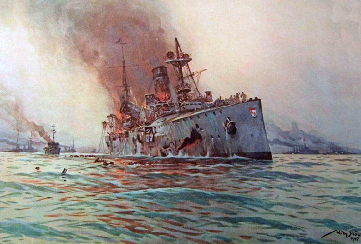 German Light Cruiser SMS Mainz sinking at the Battle of Heligoland Bight on 28th August 1914 in the First World War: picture by Willie Stoewer