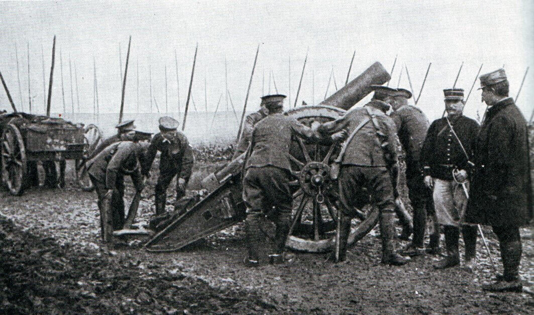 British howitzer on the battlefield:Battle of the Aisne, 10th to 13th September 1914 in the First World War