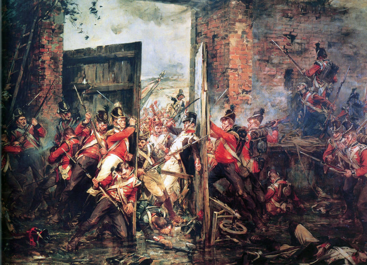 The struggle to close the gates of Hougoumont Château: Battle of Waterloo on 18th June 1815: picture by Richard Gibb