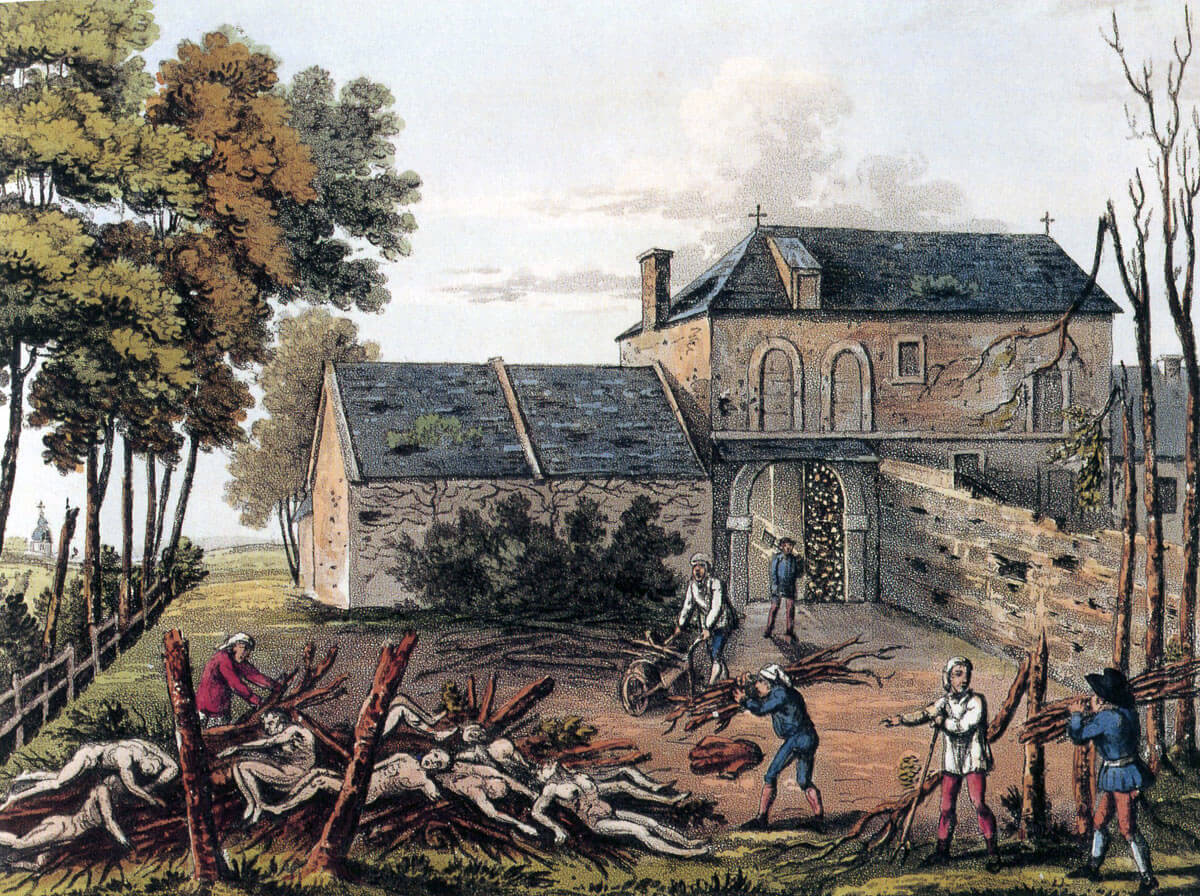Burying the dead at Hougoumont Château after the Battle of Waterloo on 18th June 1815
