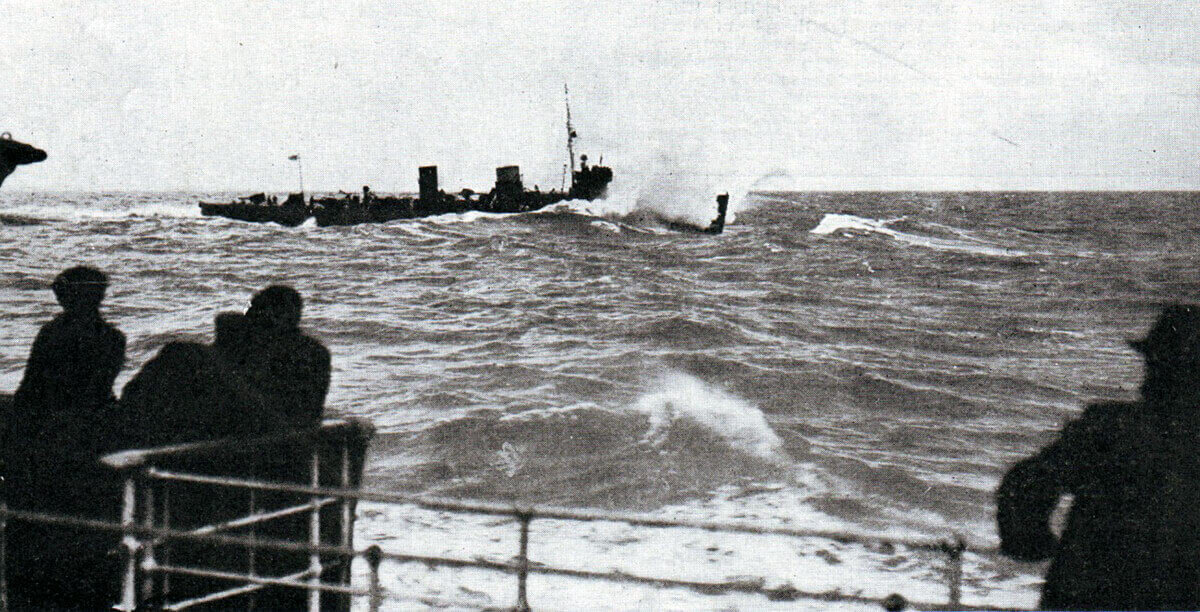 HM Destroyer Lark, one of the ships of the British 3rd Flotilla in the Battle of Heligoland Bight on 28th August 1914 in the First World War