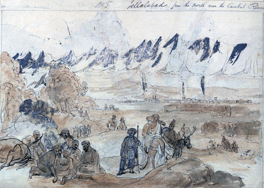 Jellalabad seen from the north by the Kabul River: Siege of Jellalabad from 12th November 1841 to 13th April 1842 during the First Afghan War