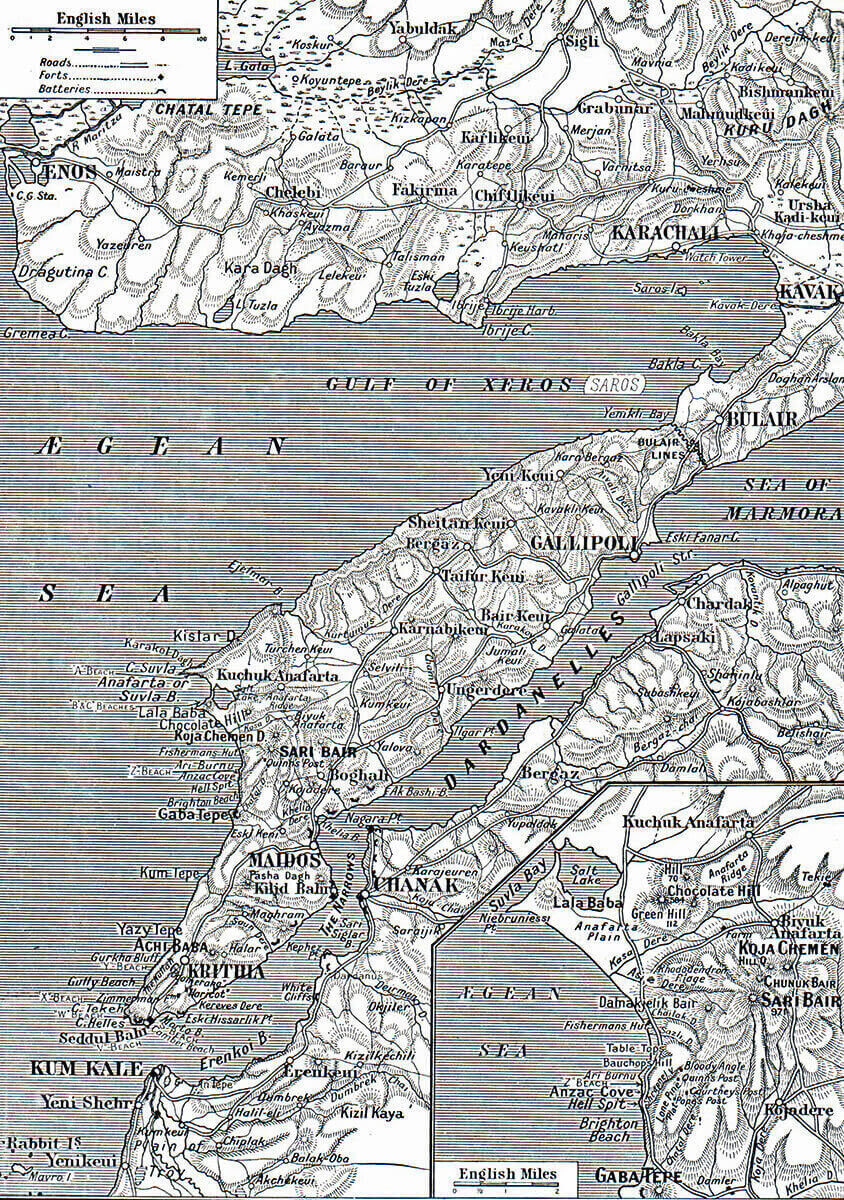 Map of the Gallipoli Peninsular. The inset shows the area of Anzac Cove and Suvla Bay: Gallipoli Part III, ANZAC landing on 25th April 1915 in the First World War