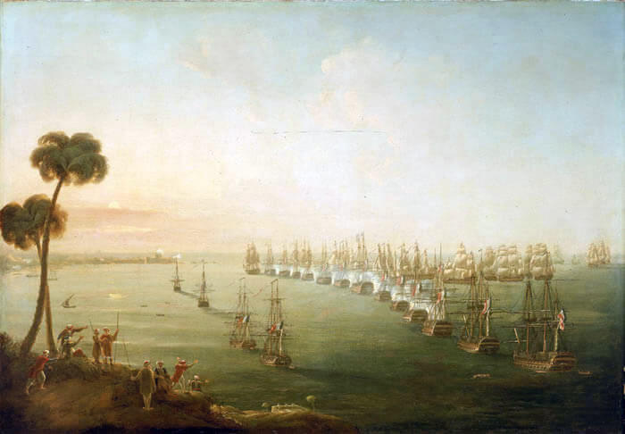 Opening of the Battle of the Nile on 1st August 1798 in the Napoleonic Wars: picture by Nicholas Pocock