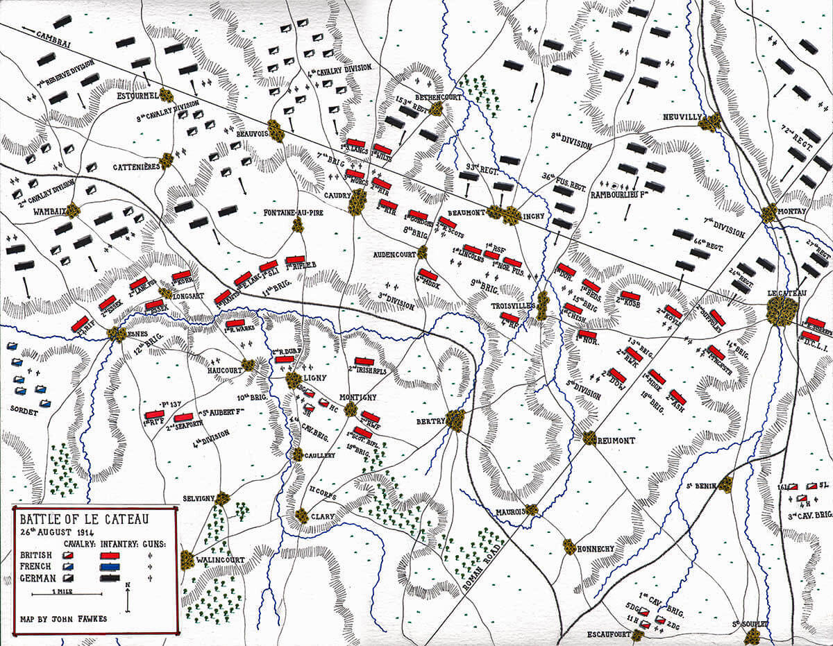 Map of The Battle of Le Cateau 26th August 1914 in the First World War: Map by John Fawkes