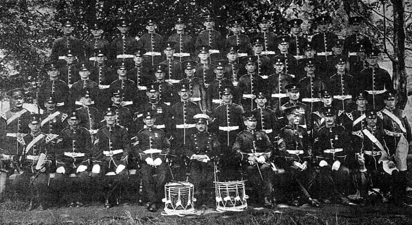 D Company, 2nd Royal Munster Fusiliers, at Tidworth in 1912 (this D Company will not have been the same D Company that fought in 1914, as in 1913 the companies in infantry battalions were doubled in size and halved in number, so that each battalion had 4 companies instead of the previous 8; each new company absorbing 2 of the previous companies, with a company sergeant major as the senior non-commissioned rank in place of the colour-sergeants): Battle of Étreux on 27th August 1914 in the First World War