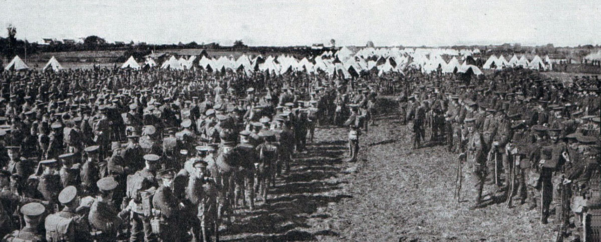 British infantry, before moving up to the front line: Battle of Mons on 23rd August 1914 in the First World War