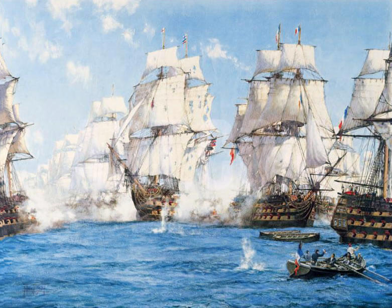 Battle of Trafalgar on 21st October 1805 during the Napoleonic Wars: picture by Montague Dawson