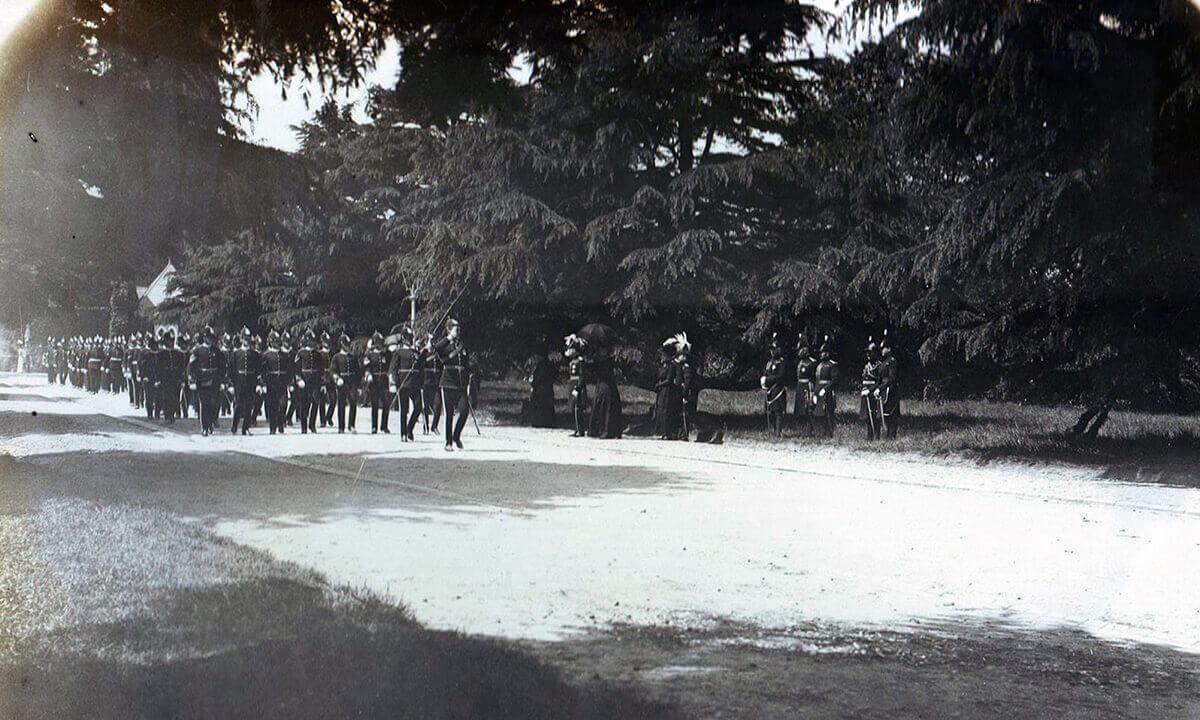 2nd Worcestershire Regiment marching past King George V and the Queen and Sir Douglas and Lady Haig after Church Parade in Aldershot in June 1914: British Expeditionary Force (BEF) 1914 Order of Battle