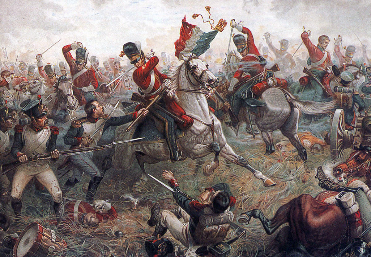 Sergeant Ewart of the Royal Scots Greys capturing the Standard and Eagle of the French 45th of the Line at the Battle of Waterloo on 18th June 1815: picture by Sutherland