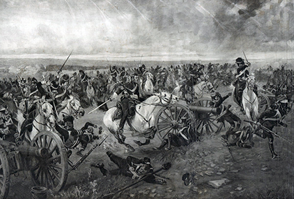 Charge of the Royal Scots Greys at the Battle of Waterloo on 18th June 1815: picture by Henri Dupray