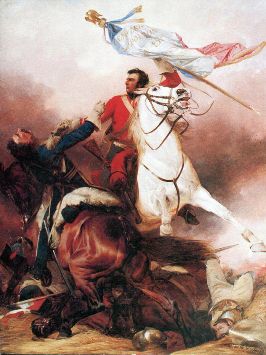 Sergeant Ewart of the Royal Scots Greys defending the captured Standard and Eagle of the French 45th of the Line at the Battle of Waterloo on 18th June 1815: picture by Richard Ansdell