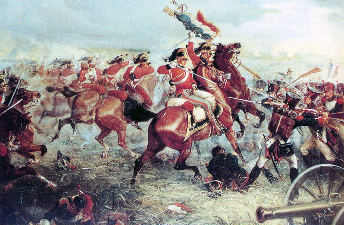 Captain Clark-Kennedy and Corporal Stiles of the Royal Dragoons capture the Standard and Eagle of the 105th of the Line at the Battle of Waterloo on 18th June 1815: picture by William Holmes Sullivan