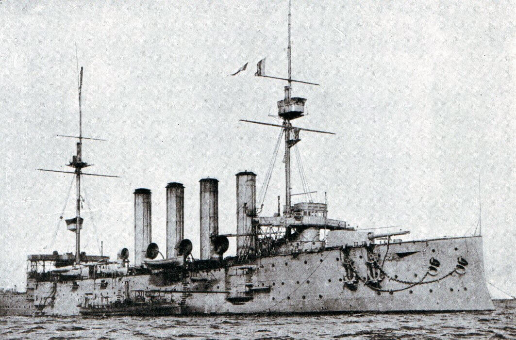HMS Aboukir, one of the British Armoured Cruisers that took part in the Heligoland Bight operation on 28th August 1914. Aboukir, Cressy and Hogue were all sunk by the German submarine U9 on 22nd September 1914: Battle of Heligoland Bight on 28th August 1914 in the First World War