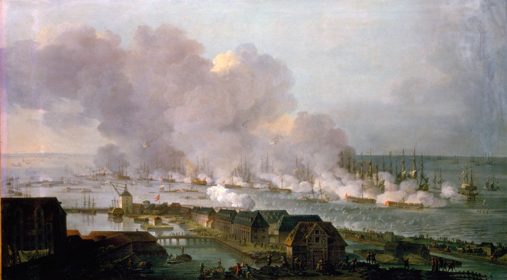 Battle of Copenhagen on 2nd April 1801 in the Napoleonic Wars: picture by C.A. Lorentzen