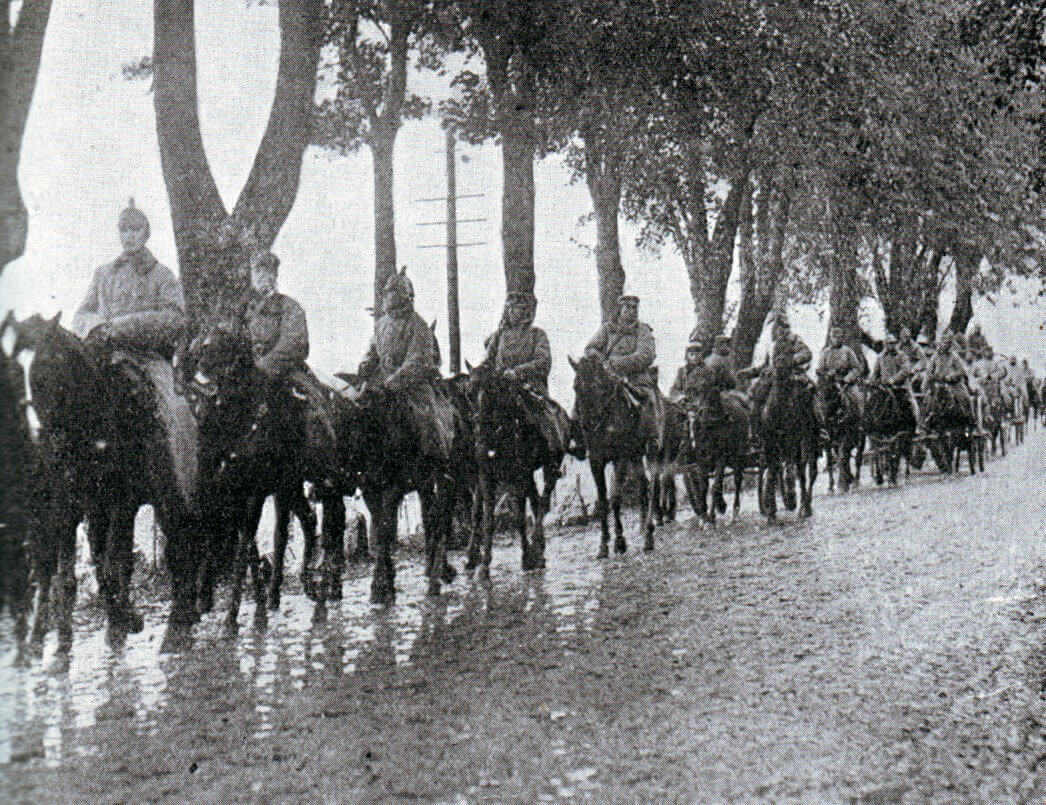 German cavalry advancing to the Aisne: Battle of the Aisne, 10th to 13th September 1914 in the First World War