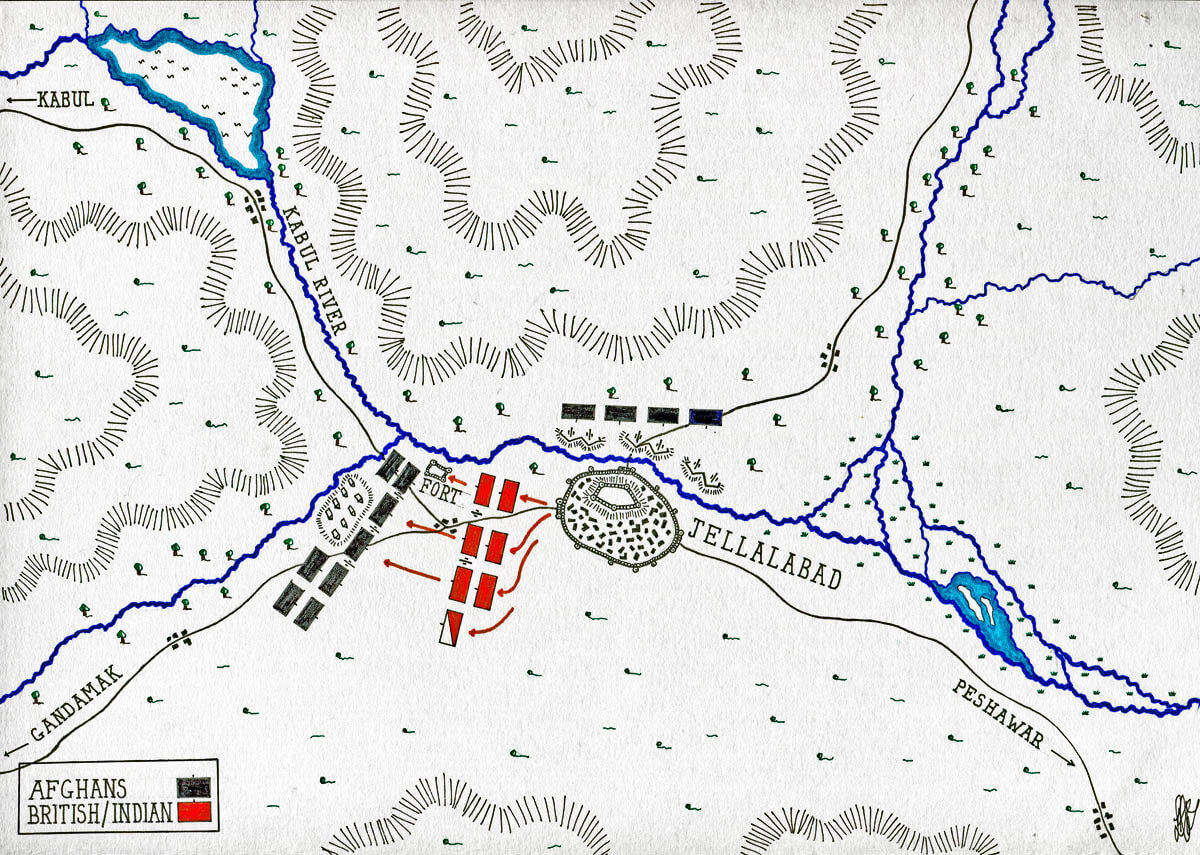 Map of the Siege of Jellalabad from 12th November 1841 to 13th April 1842 during the First Afghan War: map by John Fawkes