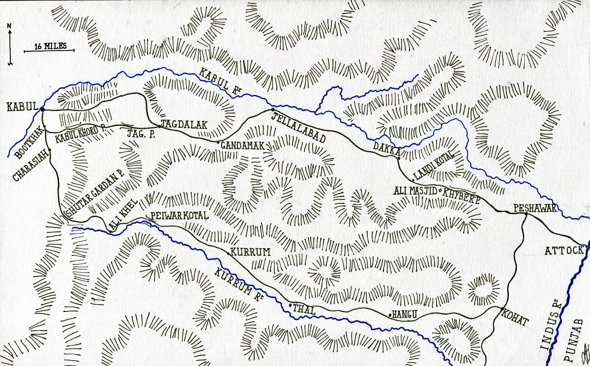 Map of the route from Kabul to Jellalabad and the border of India: Battle of Kabul and Retreat to Gandamak 1842 during the First Afghan War: map by John Fawkes