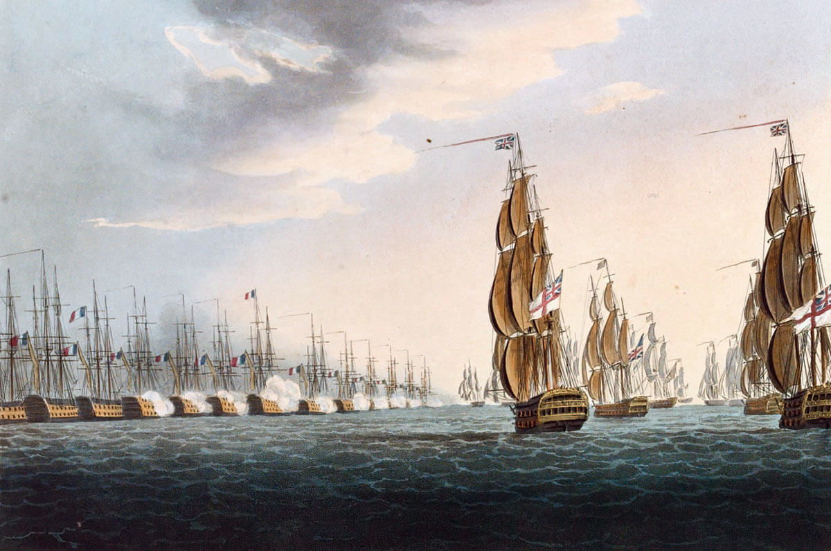 Opening of the Battle of the Nile on 1st August 1798 in the Napoleonic Wars: picture by Thomas Whitcombe