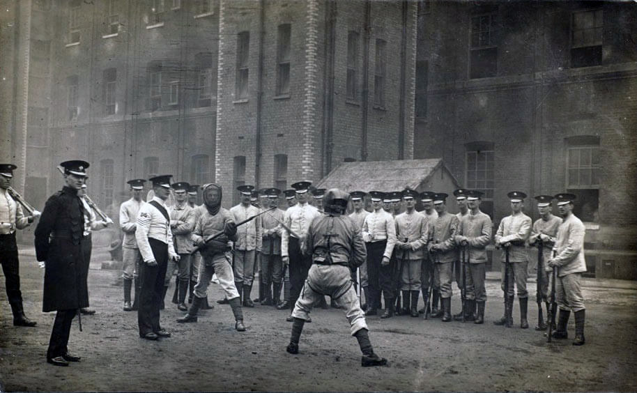 Irish Guards practising bayonet fighting at Wellington Barracks in 1914, before leaving for France: Battle of Villers Cottérêts on 1st September 1914 in the First World War