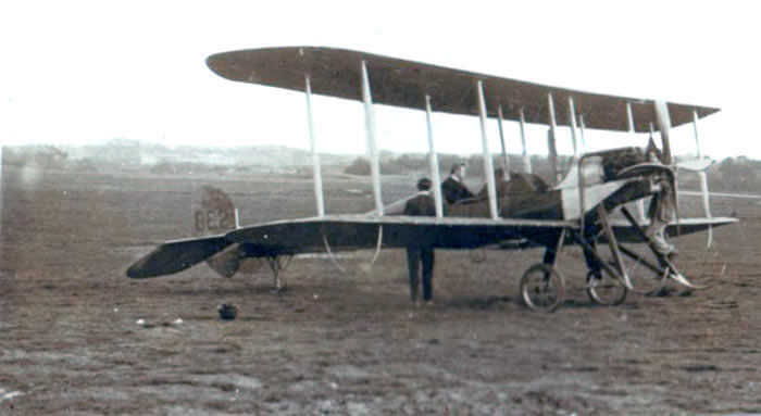 BE2 Aeroplane: one of the models used by the Royal Flying Corps in the first months of the Great War: First Day of the Retreat from Mons and the Battle around Elouges and Audregnies, fought on 24th August 1914 in the First World War