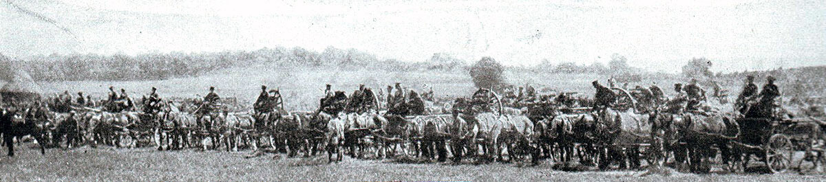 British transport column: Battle of Le Cateau on 26th August 1914 in the First World War