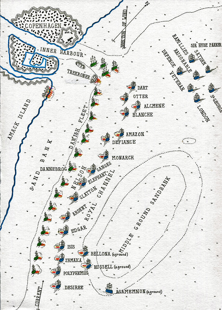 Map of the the Battle of Copenhagen on 2nd April 1801 in the Napoleonic Wars: map by John Fawkes