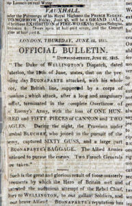 Official Bulletin in the Times newspaper dated 22nd June 1815 announcing the Battle of Waterloo fought on 18th June 1815