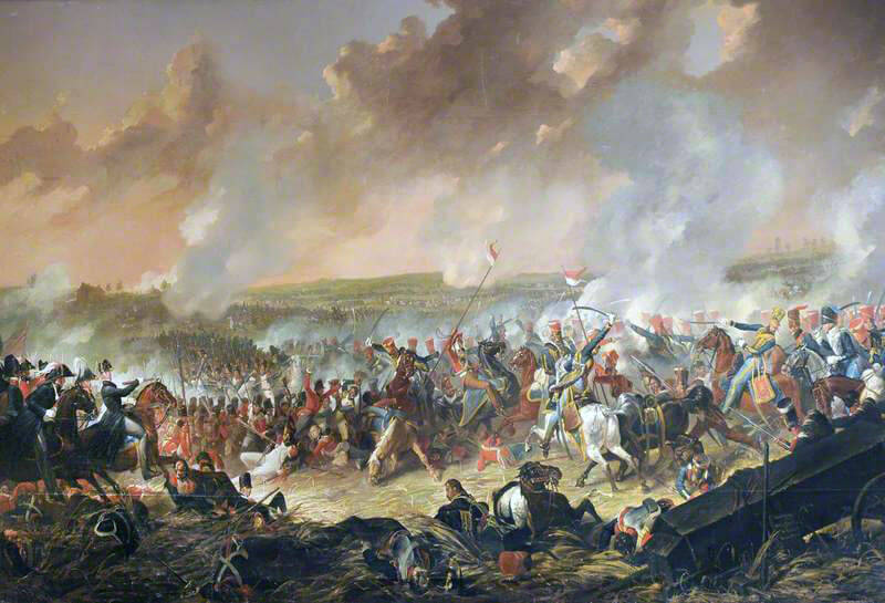 British Hussar Brigade attacks the French while the Duke of Wellington looks on at the Battle of Waterloo on 18th June 1815: picture by Denis Dighton