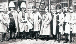 General Eric Liman von Sanders and his staff. Liman von Sanders was appointed commander-in-chief of the Turkish Army in 1915 and conducted the defence of Gallipoli