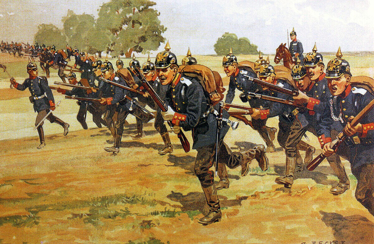 German infantry on manoeuvres in 1905: Battle of the Aisne, 10th to 13th September 1914 in the First World War: picture by Becker