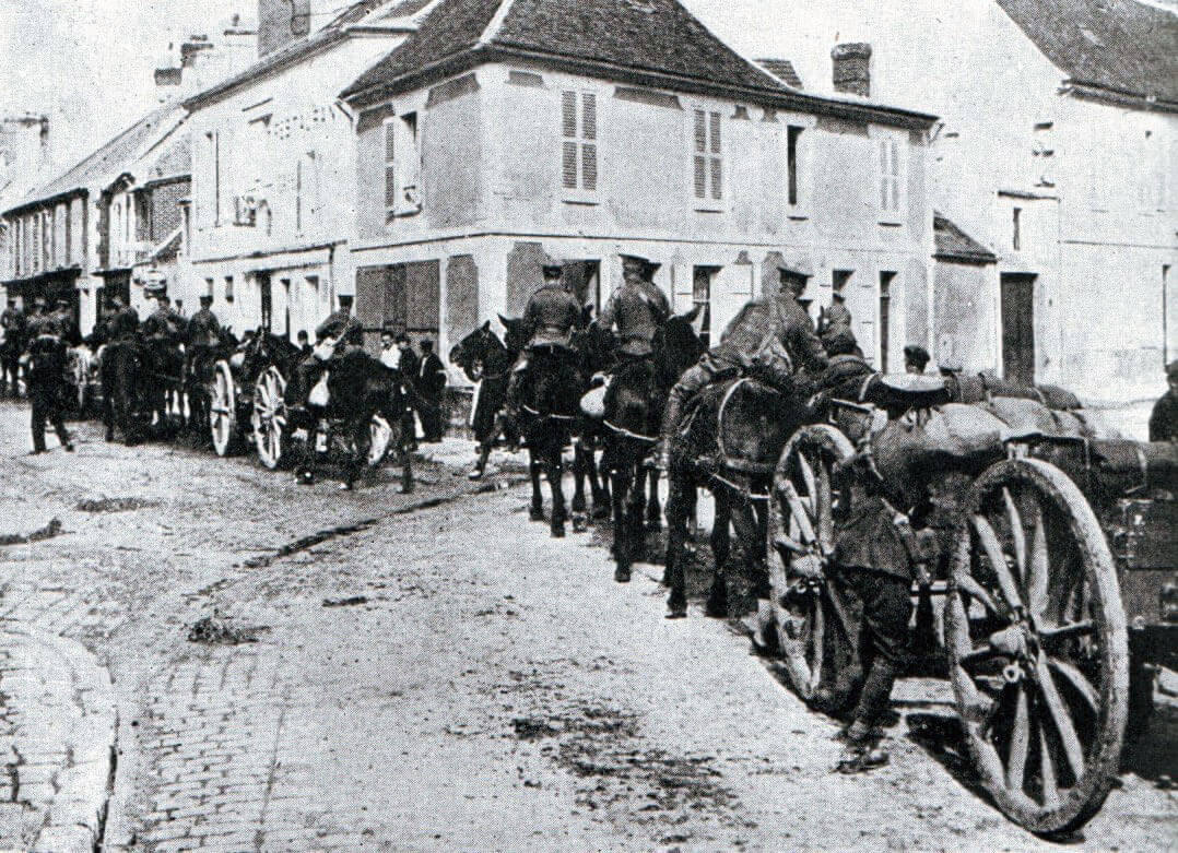 British transport during the advance to the Marne River: Battle of the Marne, fought from 6th to 9th September 1914, during the First World War