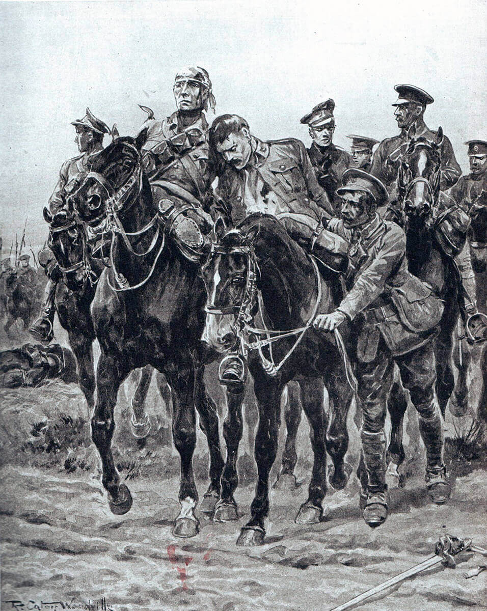 British Cavalry returning from a charge: First Day of the Retreat from Mons and the Battle around Elouges and Audregnies, fought on 24th August 1914 in the First World War: picture by Richard Caton Woodville