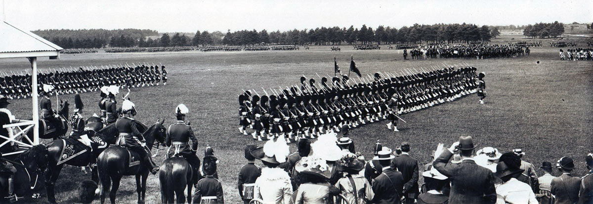 1st Queen's Own Cameron Highlanders passing in review before King George V in June 1914: British Expeditionary Force (BEF) 1914 Order of Battle