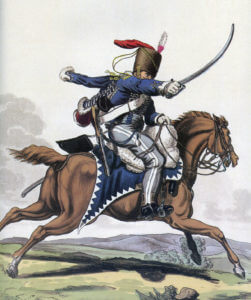 7th Queen's Own Light Dragoons (Hussars): Battle of Waterloo 18th June 1815: picture by Charles Hamilton Smith